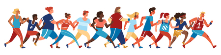 Jogging people. Runners group in motion. Running men and women sports background. Flat style vector illustration