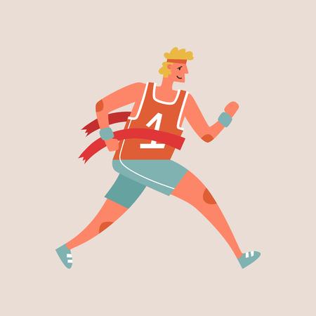 Flat style vector character of an athlete winning the race. Runnig man illustration Ilustrace