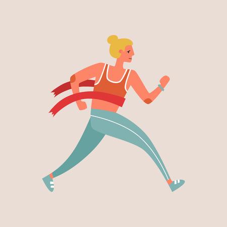 Flat style vector character of an athlete winning the race. Runnig woman illustration Illustration