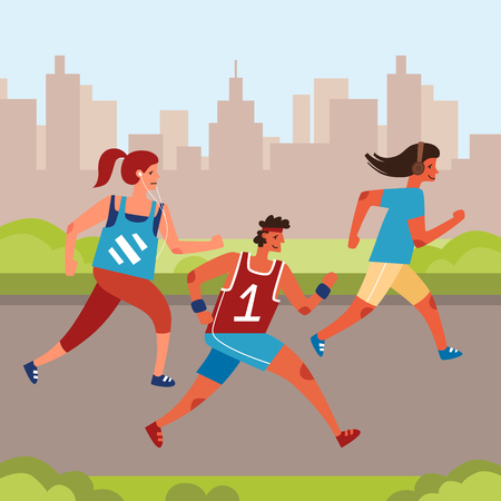 Group of people jogging in the park. Runners character set. Flat style vector illustration