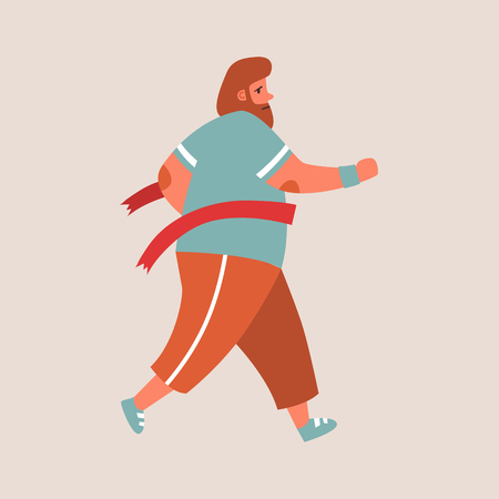 Flat style vector character of an athlete winning the race. Runnig chubby man illustration