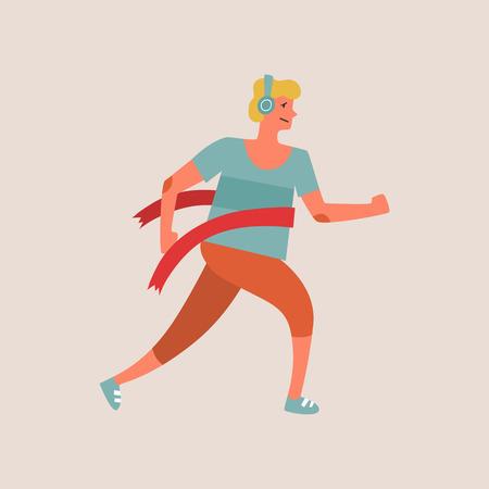 Flat style vector character of an athlete winning the race. Runnig man illustration Illustration