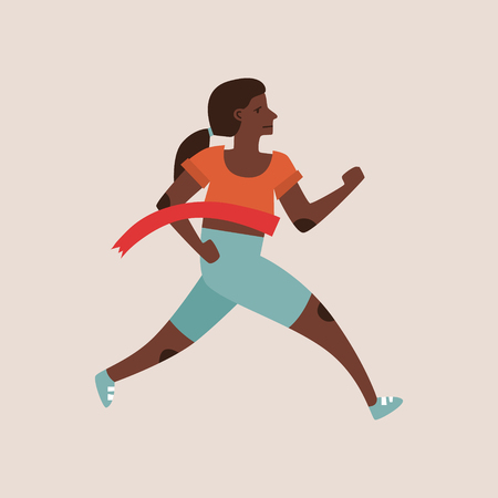 Flat style vector character of an athlete winning the race. Runnig woman illustration Ilustrace
