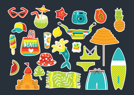 Set of summer vector elements. Flat style illustration