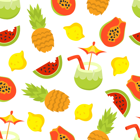 Tropical fruit flat style seamless vector pattern