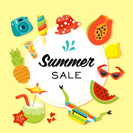 Summer sale vector banner. Flat style illustration