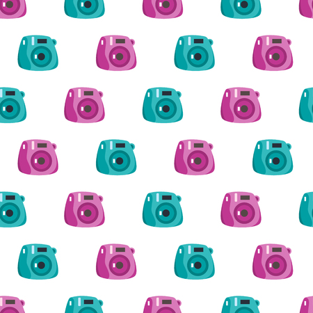 Seamless vector pattern with flat style cute instant camera Ilustrace