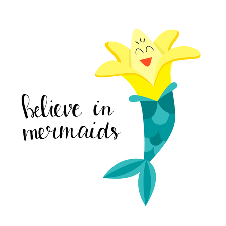 Funny image of a banana mermaid isolated on white. Flat style vector illustration
