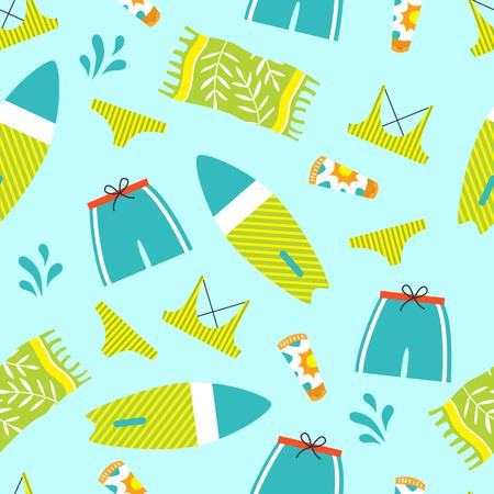Set of summer vector elements. Flat style illustration