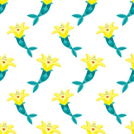 Seamless vector pattern of a banana mermaid