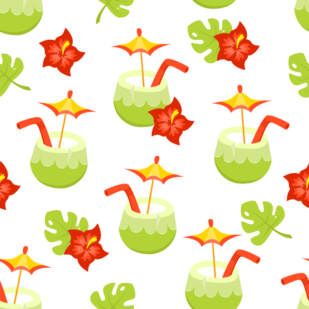 Seamless vector pattern with tropical leaves and flowers and fancy coconut coctail
