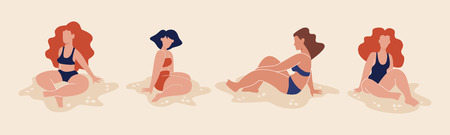 Flat style vector illustration of women on the beach. Set of girls in sweemsuits