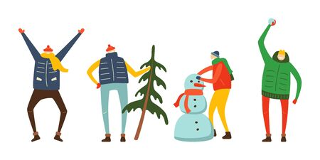 Winter flat style vector characters set. Illustration of different people in winter clothes