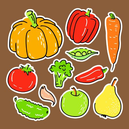 Collection of various hand drawn vegetables. Vector illustration