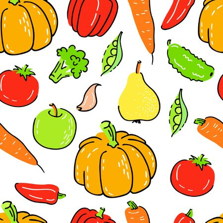 Seamless vector pattern with hand drawn vegetables