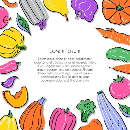 Poster, card or banner template with various hand drawn vegetables. Vector illustration