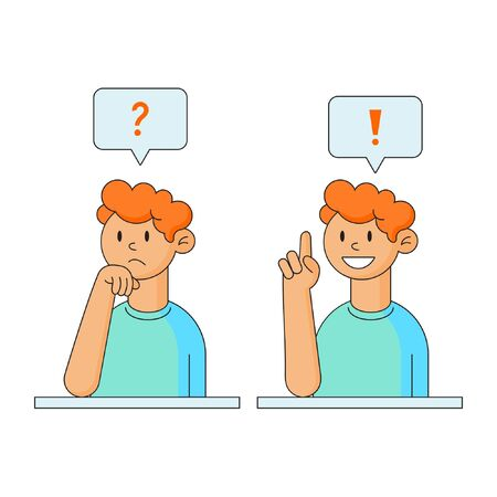 Flat style vector character of a guy thinking about a problem and having a great idea Illustration