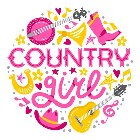 Country music handdrawn illustration for postcards, posters, prints. Vector concept. Country girl lettering - women in country music appreciation.