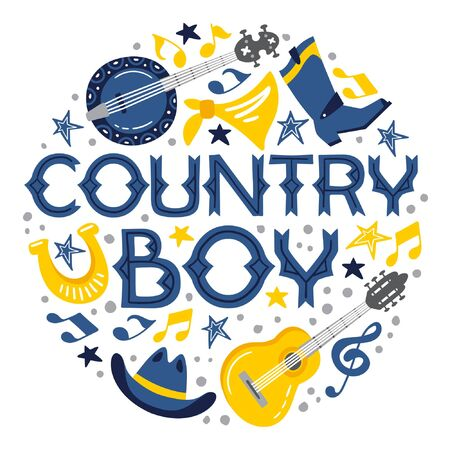 Country music handdrawn illustration for postcards, posters, prints. Vector concept. Country boy lettering