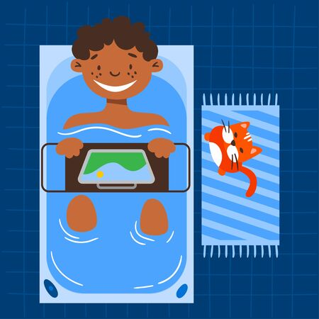 Male vector character taking a bath