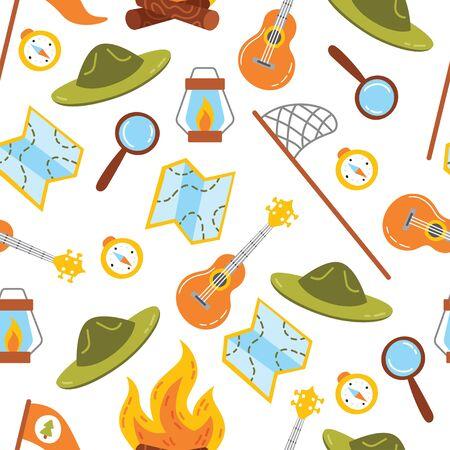 Seamless camping pattern Ilustración de vector