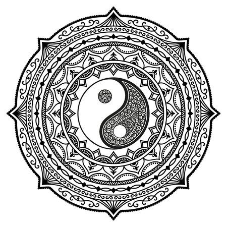 Vector henna tatoo mandala. Yin-yang decorative symbol. Mehndi style. Vectores