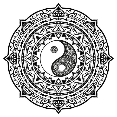 Vector henna tatoo mandala. Yin-yang decorative symbol. Mehndi style. Illusztráció