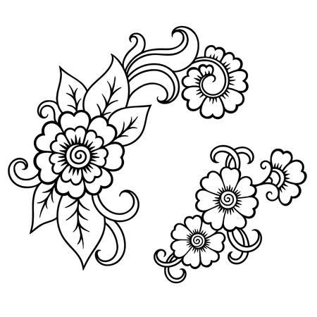 psychedelics: Henna tattoo flower template.Mehndi.