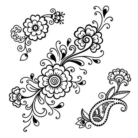 henna: Henna tattoo flower template.Mehndi.