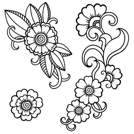 Tatuaje de henna template.Mehndi flor.