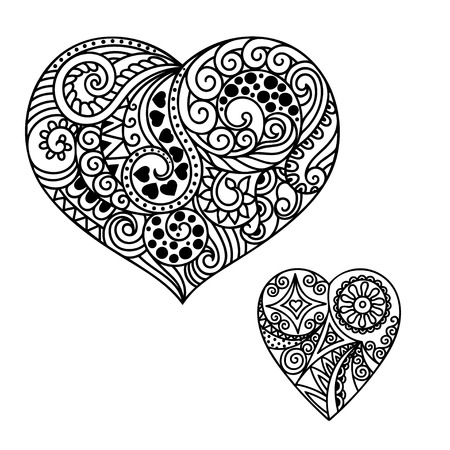 mhendi: Decorative doodle heart in mhendi style.