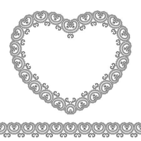 Vector henna confini senza soluzione di continuità e il cuore in stile mehndi.