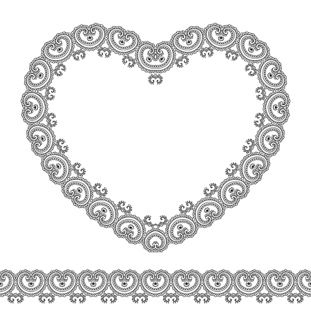 border silhouette: Vector henna seamless borders and heart in mehndi style.