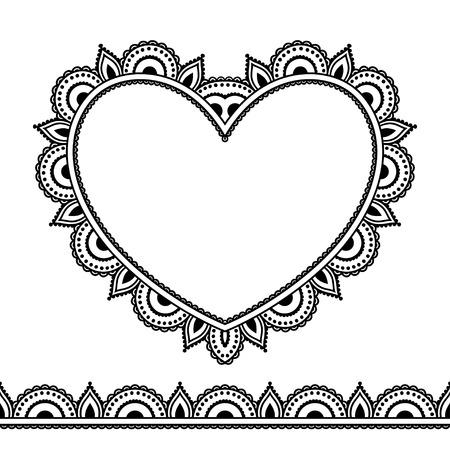 Vector henna seamless borders and heart in mehndi style.