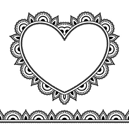 hearts and flowers: Vector henna seamless borders and heart in mehndi style.