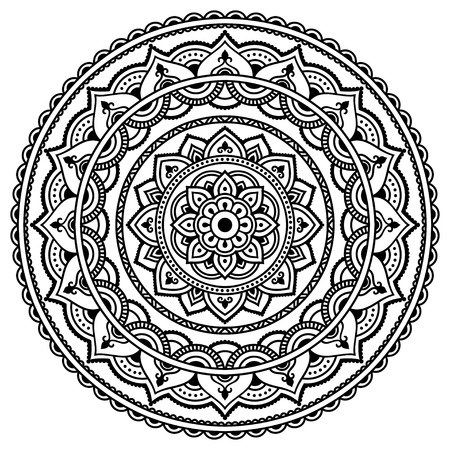 india pattern: Vector henna tatoo mandala. Mehndi style.