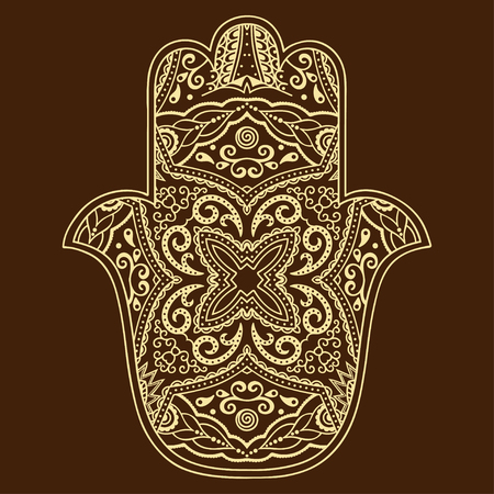 kabbalah: Vector hamsa hand drawn symbol