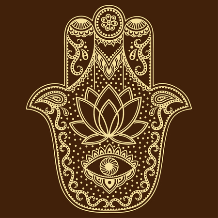 hamsa: Vector hamsa hand drawn symbol