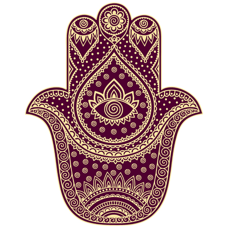 kabbalah: Color vector hamsa hand drawn symbol. Illustration