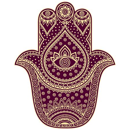 Color vector hamsa hand drawn symbol. Illustration