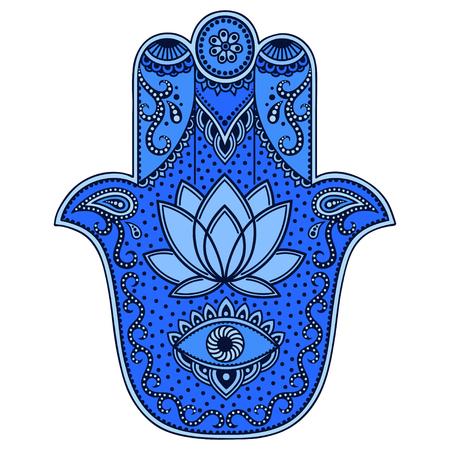 色ベクトル ハムサ手の描かれたシンボル。  イラスト・ベクター素材