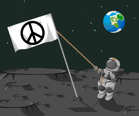 moonwalk: Astronaut sets a flag Pacific on the moon on a background of the planet Earth.