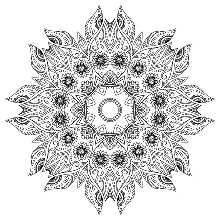 henna tattoo mandala. Mehndi style.