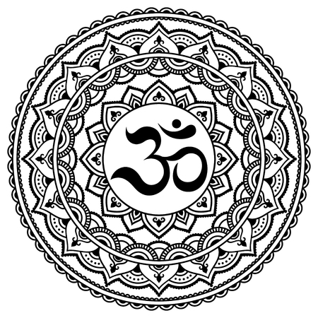 Henna tatoo mandala.OM decorative symbol. Mehndi style. Illustration