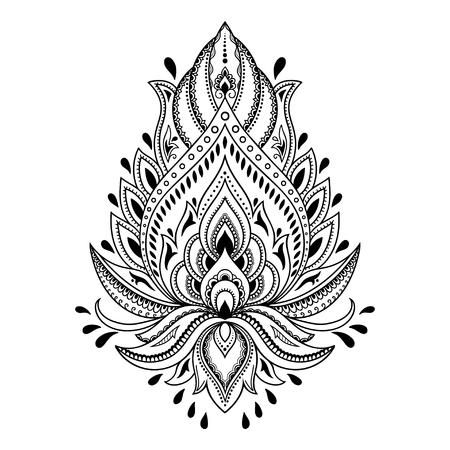 Henna plantilla de la flor del tatuaje en estilo indio. Étnico floral de Paisley - Lotus. estilo mehndi. Ilustración de vector