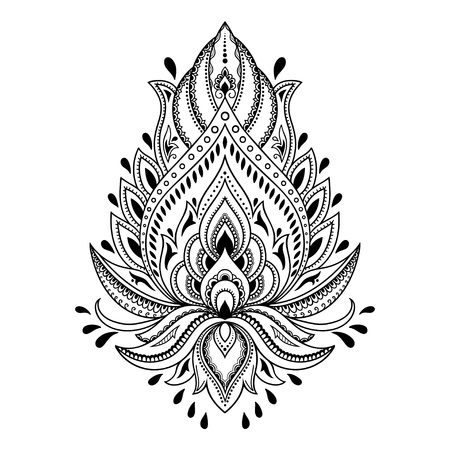 Henna tattoo flower template in Indian style. Ethnic floral paisley - Lotus. Mehndi style.