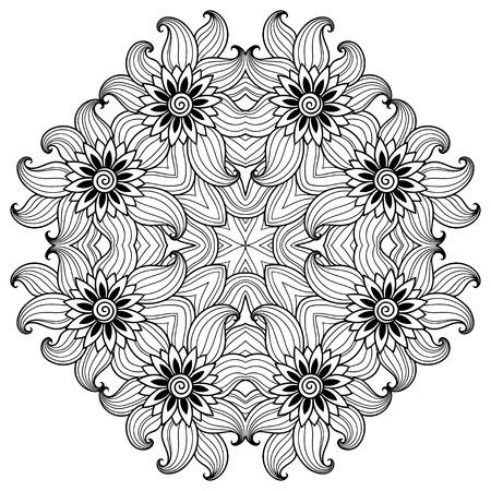 mandala: henna tattoo mandala. Mehndi style.