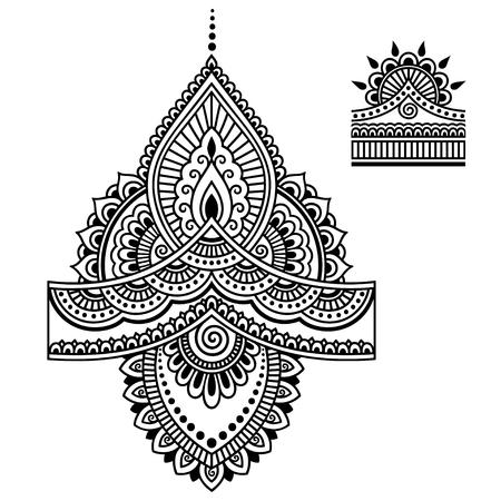 Henna tattoo bloem sjabloon. Mehndi. Stock Illustratie