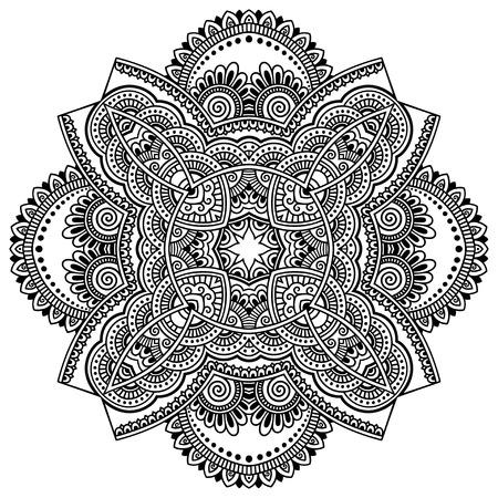 mandala: henna tatoo mandala. Mehndi style.