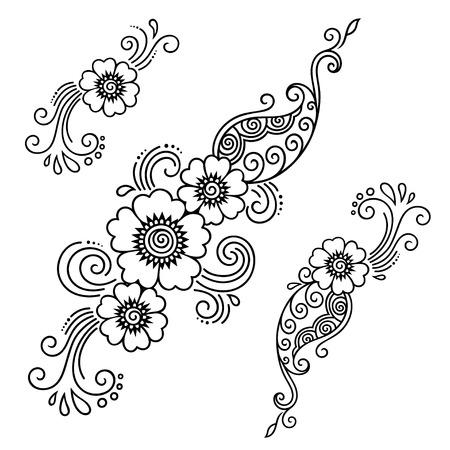 ヘナ ・ タトゥーの花テンプレート。一時的な刺青。